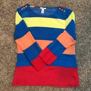 NWOT Rainbow silk J Crew top with anchor buttons!